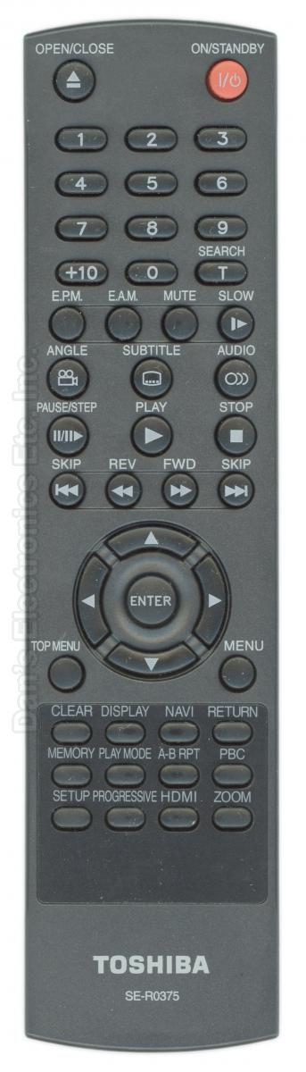 TOSHIBA SER0375 DVD Player Remote Control