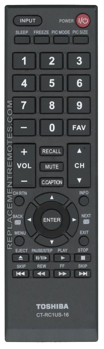 TOSHIBA CTRC1US16 TV Remote Control