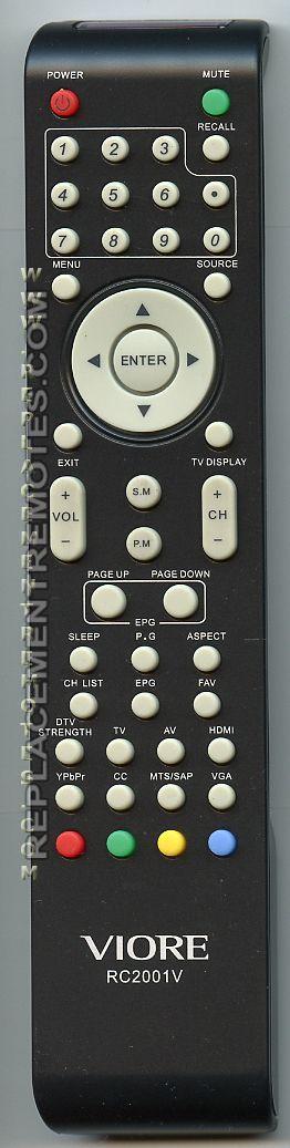 VIORE RC2001V Remote Control