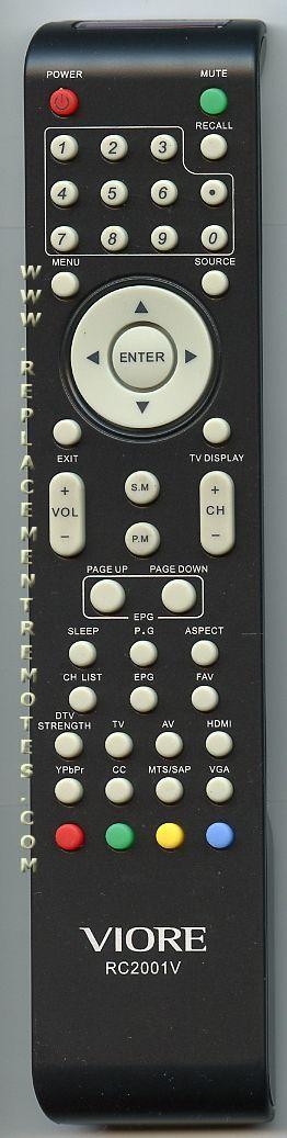VIORE RC2001V TV Remote Control