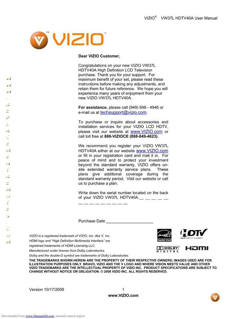 VIZIO HDTV40AOM Operating Manual