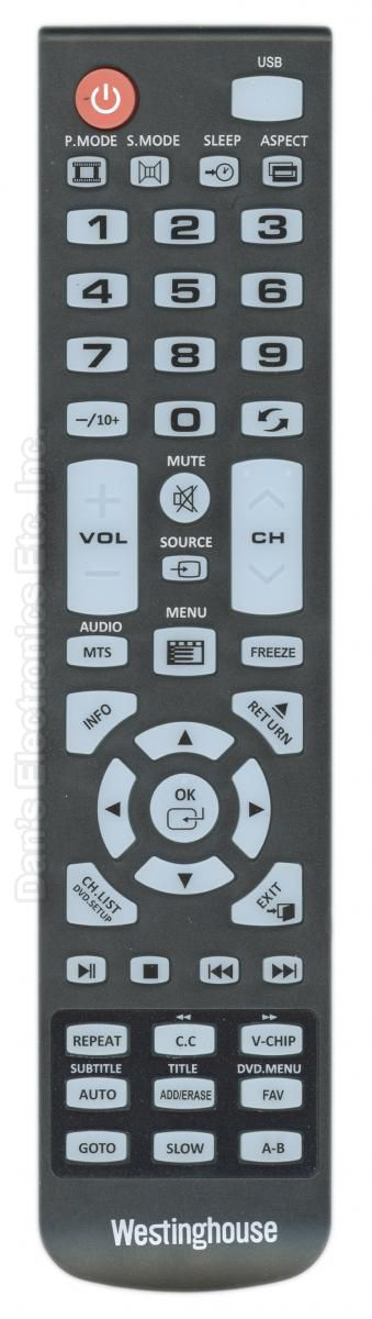 Westinghouse 84504603BB1 TV Remote Control