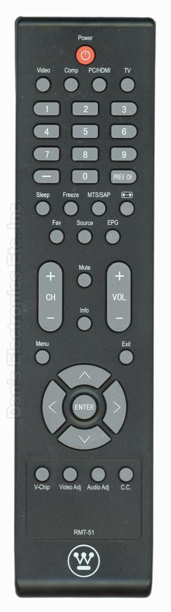 Westinghouse RMT51 TV Remote Control