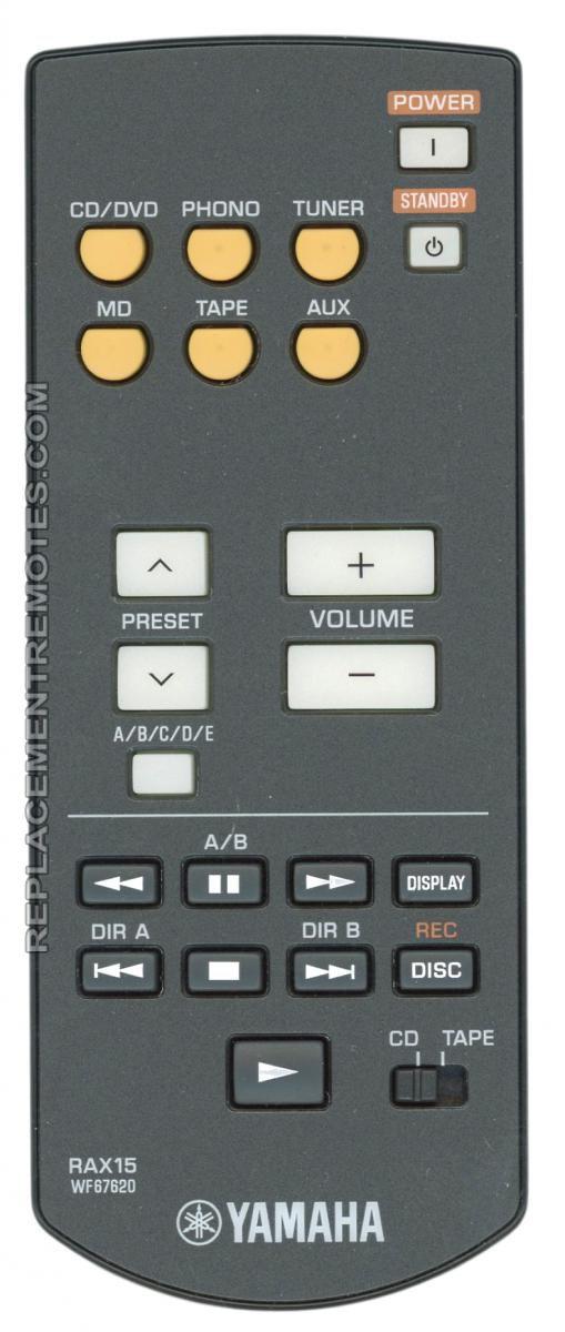 YAMAHA RAX15 Audio System Remote Control