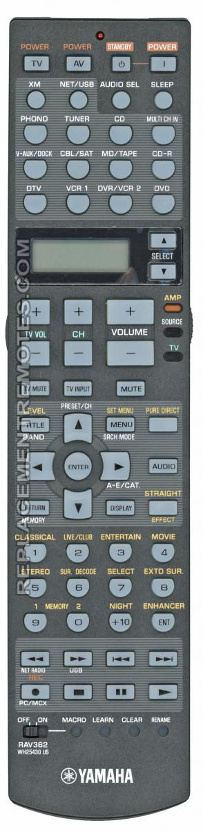 YAMAHA RAV362 Audio/Video Receiver Remote Control