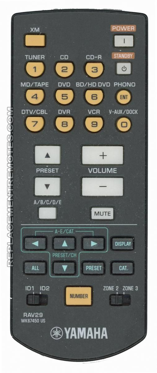 YAMAHA RAV29 Audio/Video Receiver Remote Control