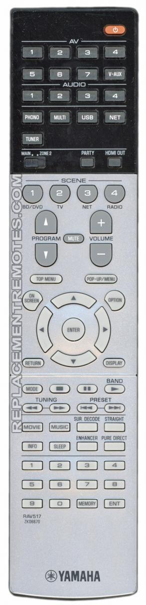 YAMAHA RAV517 Audio/Video Receiver Remote Control
