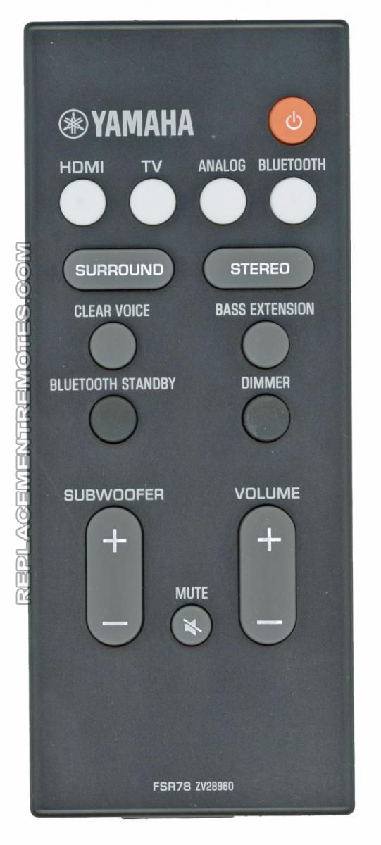 YAMAHA FSR78 Audio/Video Receiver Remote Control