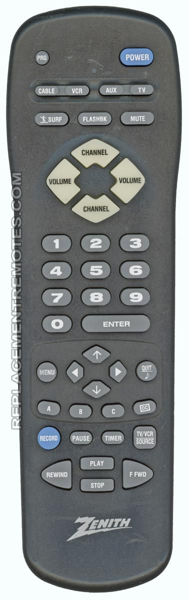 ZENITH MBR3447A TV Remote Control